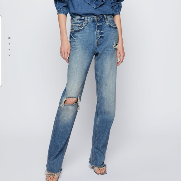 Zara Denim - Zara premium real straight jeans in sunrise size 8